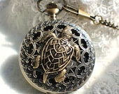 Sea turtle pocket watch, men's mechanical pocket watch with turtle mounted on front cover.