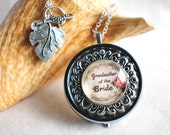 Music box locket, round locket with music box inside, in silver or bronze for Grandmother of the Bride.