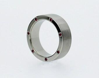 Ruby wedding band, palladium ring, men Ruby ring, modern ring, men wide wedding ring, deep pink wedding band, man sapphire ring, red ruby