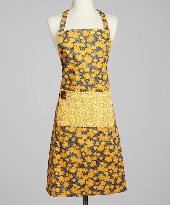 Ladies Yellow Flower Apron - Adult Apron - Reversible Apron - Cotton Apron - Home Chef Essentials - Smock Apron - Full Apron with Pocket
