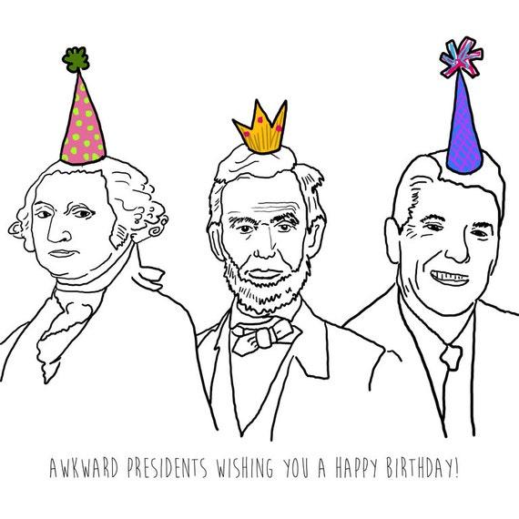 Presidents Funny Birthday Card Funny Politics Cards – History of Birthday Cards
