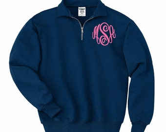 Sweatshirt with monogram  - quarter zip pull over sweatshirt with monogram