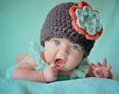Newborn Baby Girl Hat Newborn Girl Hat Elephant Gray Baby Hat Tangerine Aqua Blue Baby Girl Clothes Spring Photo Prop Phtoography Prop