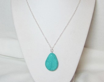 """Turquoise Teardrop Pendant Necklace on Gold or Silver Chain with 2"""" Extender"""