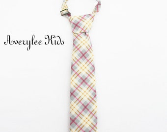 Boys Necktie, Yellow and Gray Plaid Necktie, Toddler Boys Neck Tie, Infant Necktie, Wedding Ring Bearer, Matching Adult Necktie