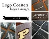 Logo Coasters Set of 4 // Logo and Custom Image Coasters // office, homebrew, desk, fundraiser, bar