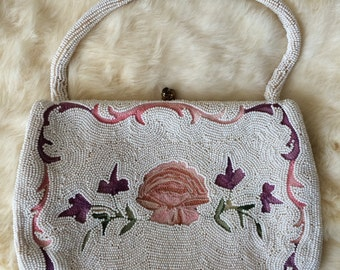 Vintage Beaded Bridal Purse with French Tambor Embroidery, White Floral & Scallop Embroidered Purse, Made in Belgium