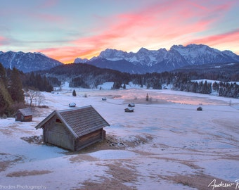 Bavarian Sunrise - Germany Landscape Photography - Winter Landscape, Snow Art, Pristine, Colorful Sunrise, Winter Pasture