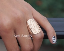"10K, 14K & 18K Solid Gold Hand Engraved Monogram Ring - Large Monogram 1"" - Custom Made Oval Ring In Yellow, Rose or White Gold"
