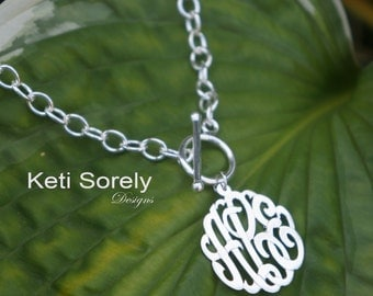 Personalized Toggle Necklace with Monogrammed Initials Charm (Order Any Name) - with Rhodium Overlay