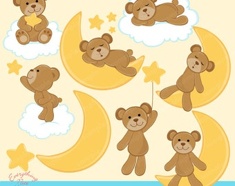 Sweet Dreams Bear Clipart Set