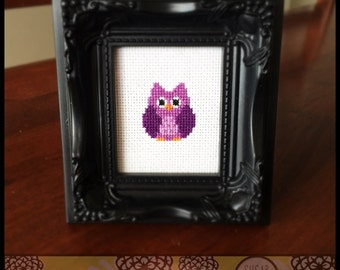 Baby Owl Cross Stitch (Printable PDF Pattern) - Immediate Download from Etsy - Cute Lavender Purple Kawaii