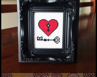 Key to My Heart Printable Cross Stitch Pattern (PDF) - Immediate Download from Etsy - Red Lock Love Unique Needle Craft