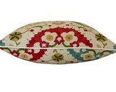 Designer Deocartive Suzani Pillow Cover in Yellow, Red and Green on Both Sides and Ivory Piping