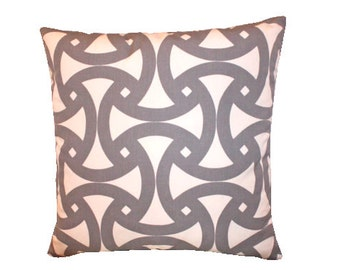 Schumacher Pillow Cover in Fog Grey and Ivory Geometric Santorini Print Trina Turk Design