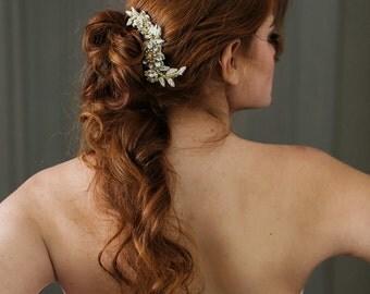 Gold Beaded Bridal Comb. Bridal Hair Piece. Gold Lace Comb {Marta}
