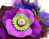Purple Rose Graduation Hair Clip Accessory Romantic Rose Fascinator Ostrich feather Antique Button original unique hair clip