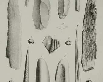 1867 Antique print of ARCHEOLOGY: STONE AGE tools. Stone Axes. Paleontology. Fossils. 149 years old steel engraving
