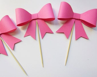 Bow Cupcake Toppers- Set of 12