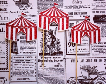 Glitter Circus Tent Cupcake Toppers- Set of 12
