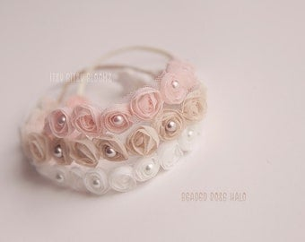 Beaded Rose Halo, Newborn Photo Prop, Baby Girl Beaded Headband, Newborn Rose Headband, Newborn Rose Headband