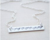 Sterling Silver Bar Necklace - Heart Bar Necklace - Sweetheart Necklace - Trendy Jewelry - Silver Bar Jewelry - Layering Necklace