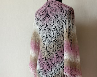 Lace shawl - woman fall accessory - ivory, pink and beige knit shawl
