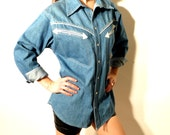 Vintage Men's Western Denim Shirt L