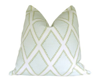 Custom Pillow Cover / Brookhaven by Sarah Richardson for Kravet in Celadon /green teal citrine / Both Sides / Made to Order