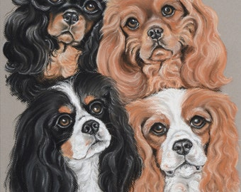 Cavalier  King Charles Spaniel Four Colors Print-  Limited edition