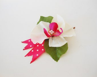 Flower Hair Accessory - Bobby Pin Base - Fabric Flower Hair Piece - White Flowers with Pink Ribbon - Colorful Accessory