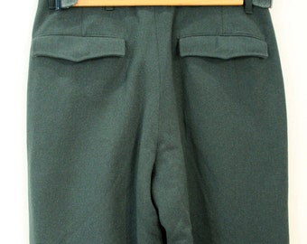 80s Military Pants, Vintage German Trousers 30 x 30, Green Wool Army Officer Pants 30 Inch Waist