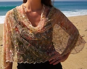 """French Designer Lace """"Romantic Flowers"""" Cowl Neck Poncho Scarf"""