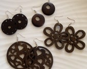 Brown Earrings / Brown Wood Earrings / Natural Wood / Wood Shapes / Lightweight Earrings / Wood Cut / Brown Earrings / Brown Wood