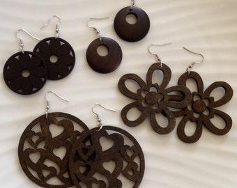 Brown Earrings / Brown Wood Earrings / Natural Wood / Wood Shapes / Lightweight Earrings / Wood Cut / Brown Earrings / Brown Wood