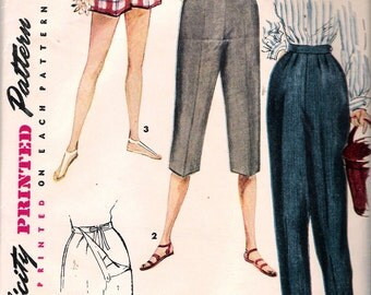 "Vintage 1954 Simplicity 4717 Maternity Shorts, Pedal Pushers & Slacks Sewing Pattern Size Waist 28"""