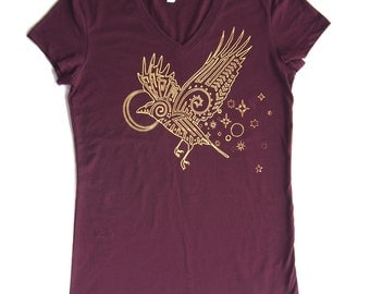 Spirit Raven at Dawn - Printed in Tangerine Orange on a Plum V-neck Bella Jersey 100% Cotton Slim Fit T-Shirt