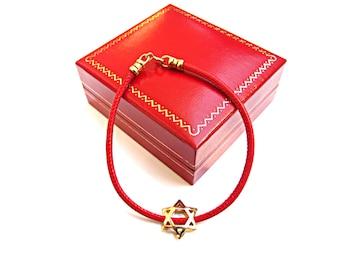 14k solid gold star of David red Italian leather kabbalah bracelet handmade luxurious solid yellow gold amulet bracelet