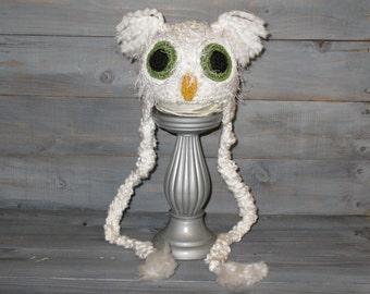 Newborn White Owl Crochet Hat With Braids, photo prop, fuzzy