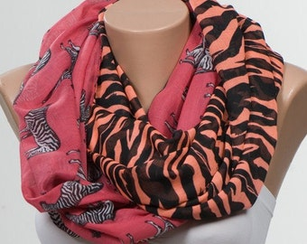 FREE Shipping. Zebra pattern printted Scarf. Loop scarf. Circle or Long oversize scarf. Orange and Black and Pink.