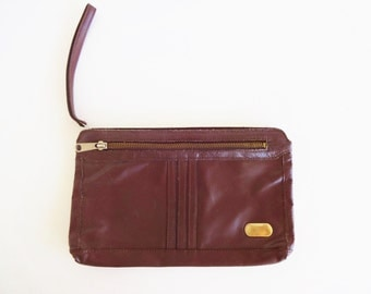Vintage 1970s Brown Real Leather Clutch Bag