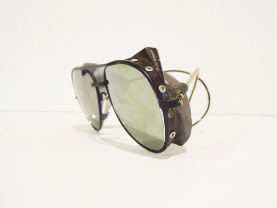 Vintage Glacier Glasses with Silver Mirror Lenses and Leather