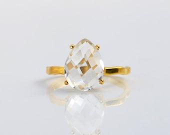 Clear Quartz ring - April Birthstone ring, gemstone ring, stackable ring, teardrop gemstone, prong set ring, gold ring, sterling silver ring