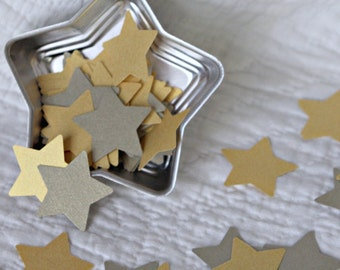 100 Shimmery Pewter and Gold  Metallic Recycled Paper Stars for Wedding, Altered Art, Scrapbooking, Gifts