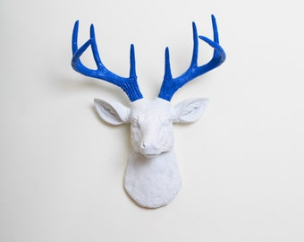 Faux Taxidermy - The MINI Nora - White W/ Blue Antlers Resin Deer Head- Stag Resin White Faux Taxidermy