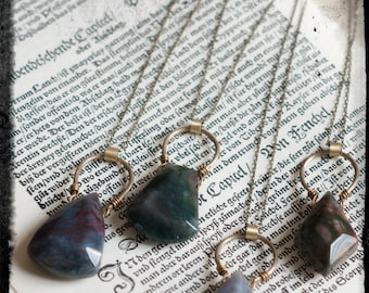 Large moss agate faceted pendant necklace, geometric gemstone necklace, colourful agate and antiqued brass, natural talisman