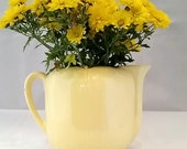 Vintage Pale Yellow Pitcher shabby chic cute vase centerpiece Mid century USA Cute pastel tulip scalloped