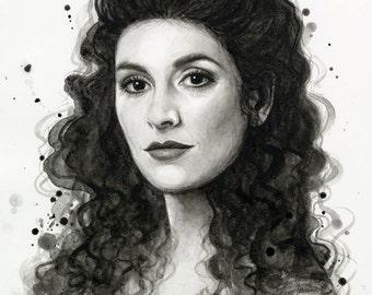 Deanna Troi Star Trek Portrait Watercolor Painting Giclee Art Print