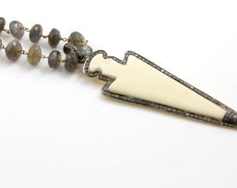 Pave Diamond Pendant, Pave Arrowhead Pendant, Diamond Bone Arrowhead Pendant, Pave Art Deco, Pave Connector, Oxidized Silver. (DCH/PDT/10)