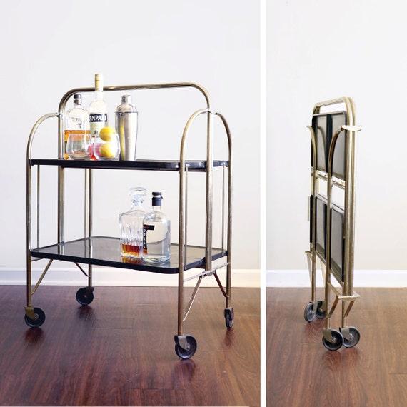 Vintage Metal Cart: SALE Vintage Metal Folding Bar Cart By CaprockVintage On Etsy